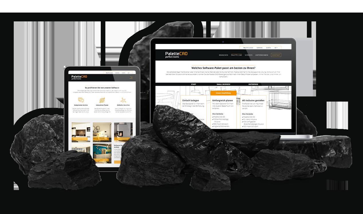 PaletteCAD Kundenreferenz: Website am MacBook