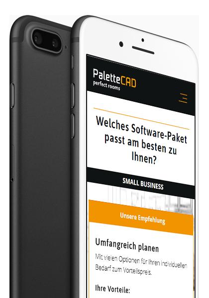PaletteCAD Kundenreferenz: Website am Smartphone